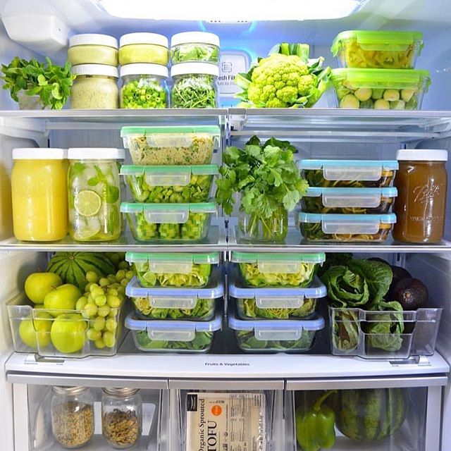 "Fridge goals anyone? . . Photo by @sirplantsalot . ""Green fridge love🍃💚💚💚 Something about greens are just so vitalizing🙌 Not to mention all of the healthy vitamins, minerals and phytonutrients they have😍💪 #greens #balance 📷: @hellonutritarian"""