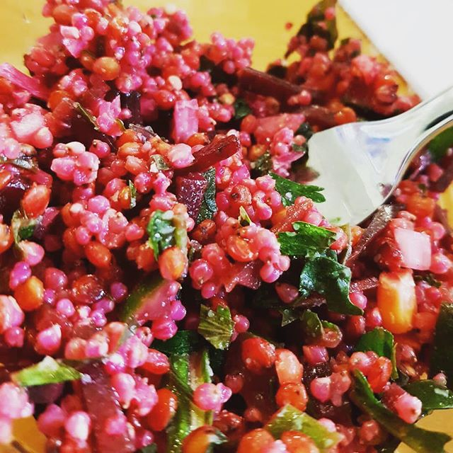 "Photo by @glocalkitchenaccra . ""The next #wellnessbeachbrunchaccra is happening this October the 14th, and this vegan millet salad will be back on the menu. This one was made with beetroot, arugula, and corn. Let's see what the market offers for the next one 😁 ⠀⠀ Inquire and book your spot with @touchofessencespa ⠀⠀ #glocalkitchenaccra #gkavegan #gkamillet #ghana #accra #accrafoodie #foodie #beetroot #millet #arugula #corn #milletsalad #thinkglobalcooklocal #glocalised #food #healthyfood #whatghanaeats #whattodoinaccra"""