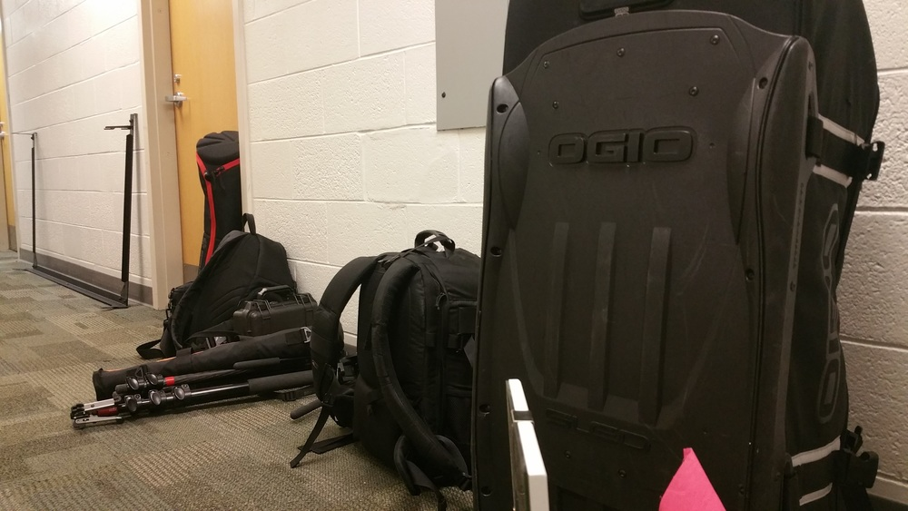 To avoid complete chaos, I kept most of the large gear in the hallway. Cameras, batteries, and memory cards I hid in our dorm room's wardrobe. Thankfully the students weren't arriving until the following week!
