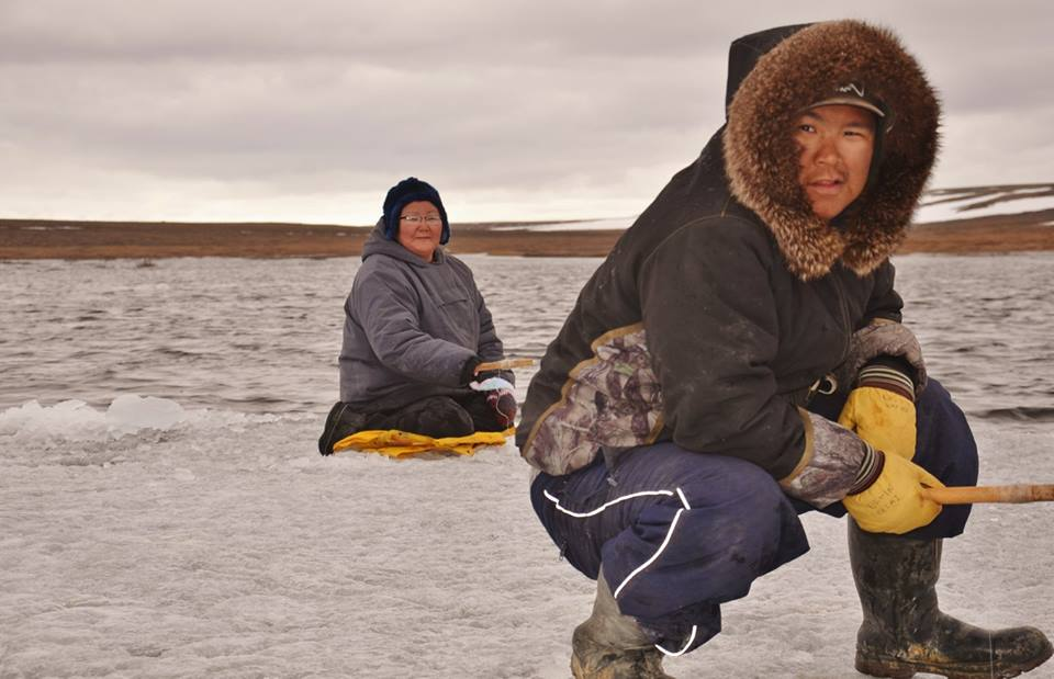 'Mother and Son Ice Fishing' by Christine Angootealuk, Coral Harbour
