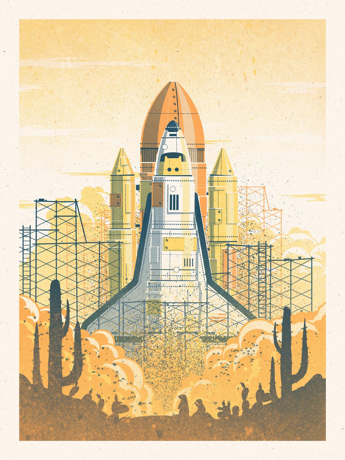 desert launch art print dkng
