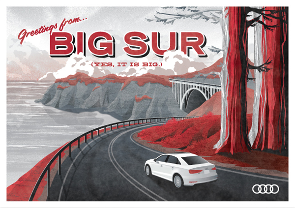 Audi A3 // Big Sur postcard by DKNG