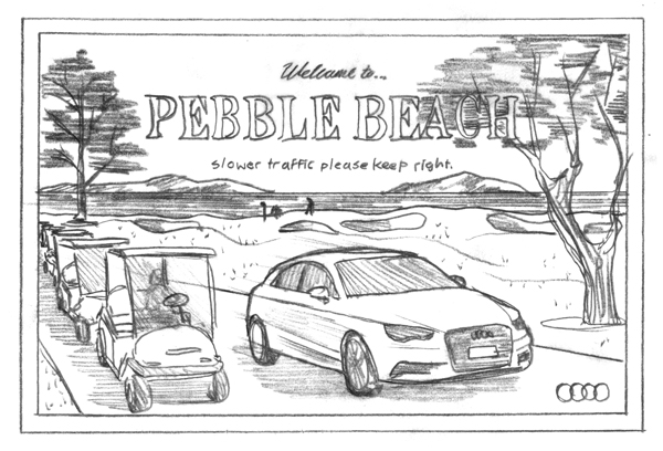 Audi A3 // Pebble Beach postcard by DKNG