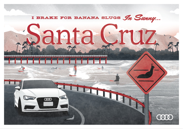 Audi A3 // Santa Cruz postcard by DKNG