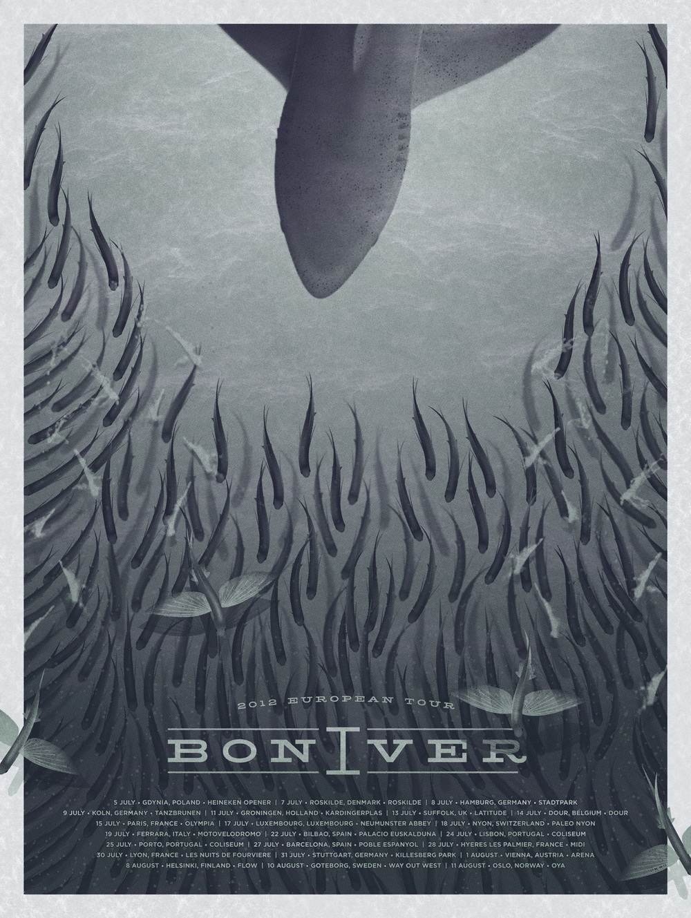 Bon Iver European Tour Poster by DKNG