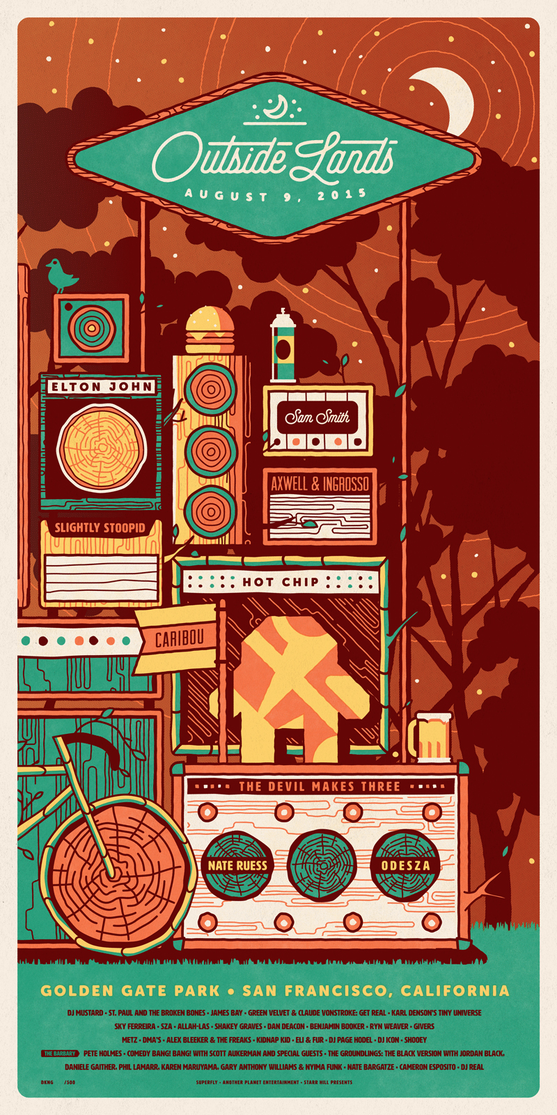 Outside Lands 2015 Poster Triptych by DKNG