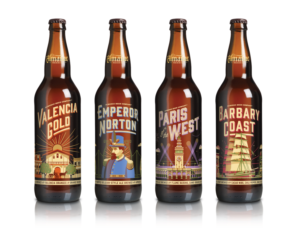 Almanac Beer Co. Seasonal Bottle Designs by DKNG