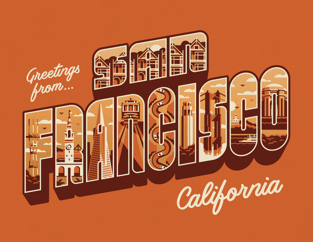 GREETINGS FROM SAN FRANCISCO   A Brand New Art Print.Available Now.   BUY NOW