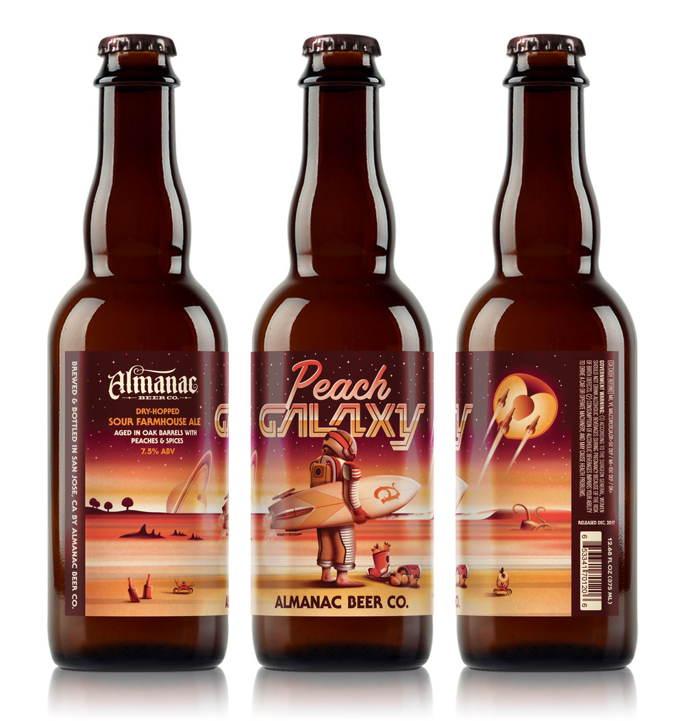 Peach Galaxy Beer Label by DKNG