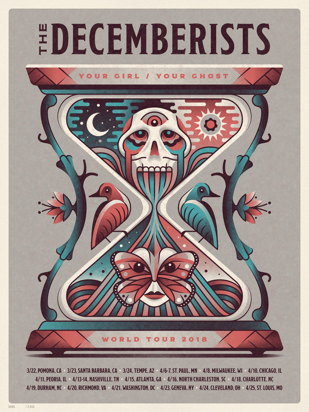 The Decemberists 2018 Tour Poster by DKNG