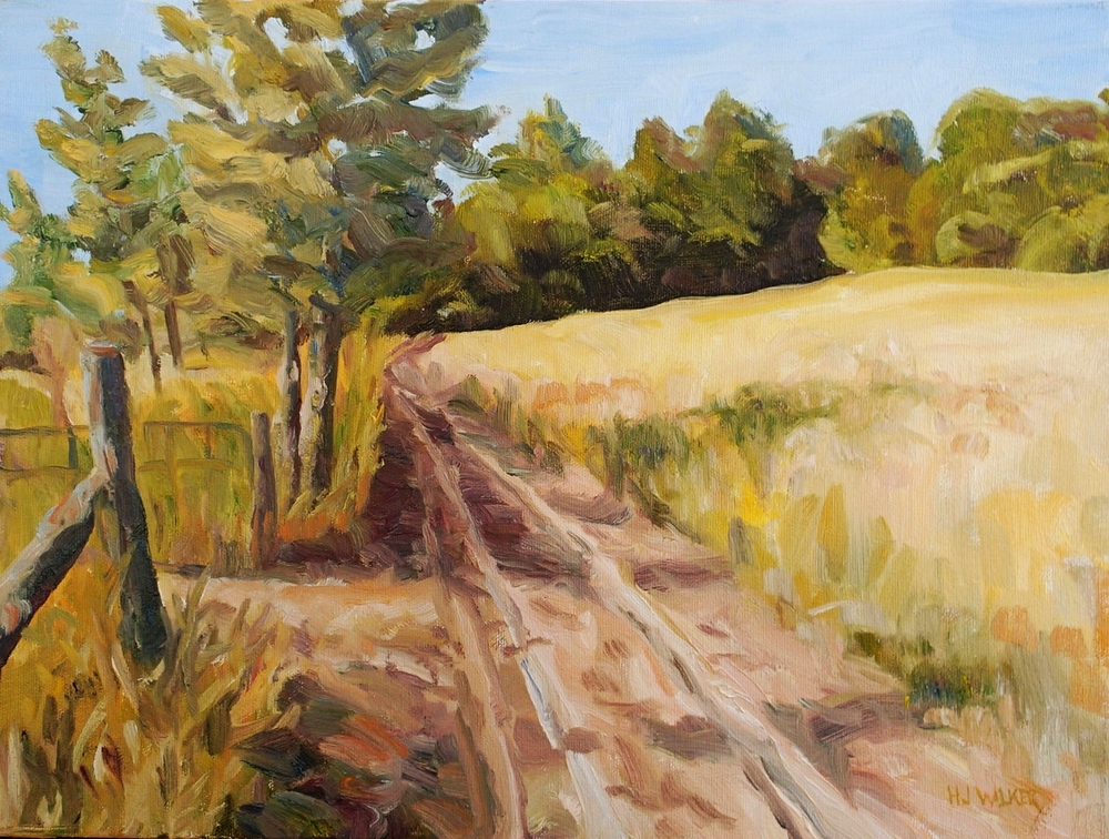 """Gate at Wessell's farm, 12x16""""    SOLD"""