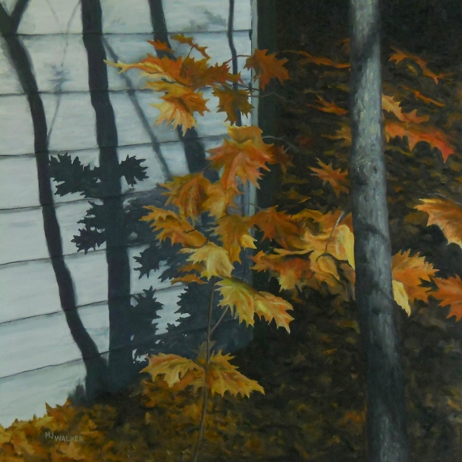 """flaming leaves  24"""" x 24"""""""