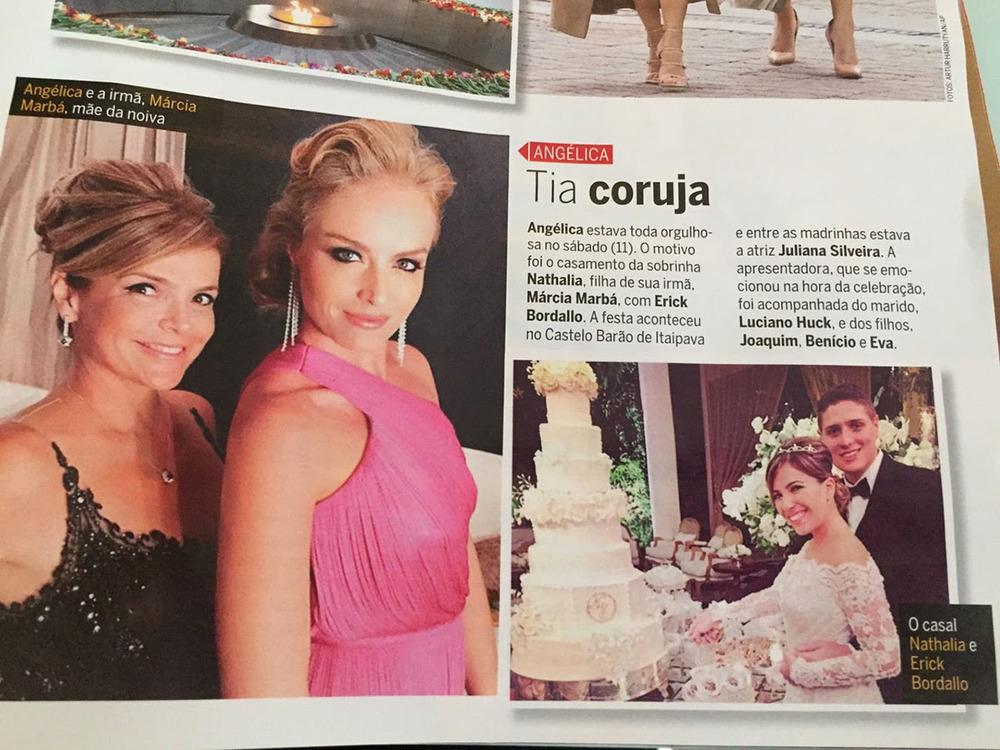 Reprodução Revista Quem Acontece. Angélica e irmã, Marcia Marbá. Noivos.