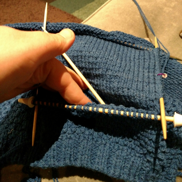 Pocket in progress.  Note the two layers.