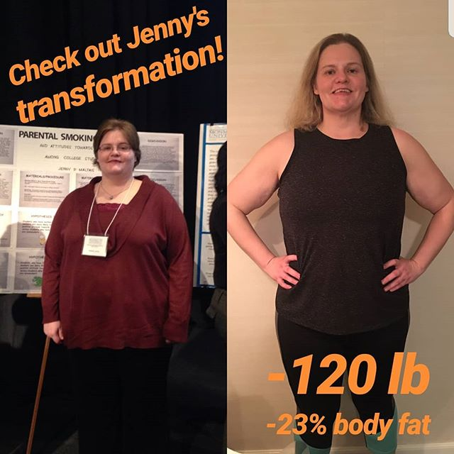 "I couldn't be more proud of Jenny! Her persistence and consistency has her posting results with every check-in.  This is what a true ""lifestyle transformation"" looks like. .  JENNY M. . ""When I decided to work with a trainer, I was nervous because I was very out of shape.  When I met Liz, she was kind and compassionate when I shared my body image struggles with her. At first, the training was very difficult, but as I began to progress it reignited my fire for fitness. I began to not only have more energy but also to gain back my confidence. .  I used to think that being in shape was only about the number on the scale and I let that number dictate my happiness. Liz encouraged me to not place so much emphasis on my weight and instead focus on how I felt. She educated me about proper nutrition, training and recovery. Since working with Liz, I have lost over 120 lbs and over 100 lbs of that was fat alone! I have decreased my body fat almost 23%! Not only that, I have freed myself from all doctor prescribed medications. .  Liz has helped lift me out of depression and step into a world of body love, positive thinking, and self confidence. She is an attentive, creative, and knowledgeable trainer and coach. With her help, I am living a much healthier and happier life.  I am no longer a slave to the scale, and best of all, I love myself and my body. The sky is the limit! I am so grateful to have her in my life."" .  #weightloss #fitnesstransformation #newyear #fitnessgoals #strengthtrainimg #selfimprovement #selflove #healthylivingjourney #fitlifecoach #getinshape #nomorescalejail #muscleovermeds #selflove #proudcoach"