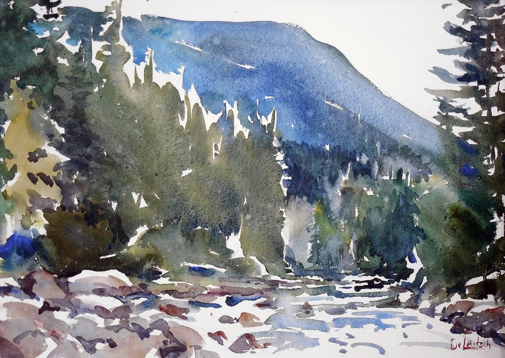 "Boulder River - 12"" x 16"" - $300 framed"