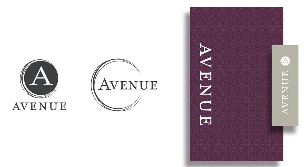Avenue Logo variations, menu cover + check presenter