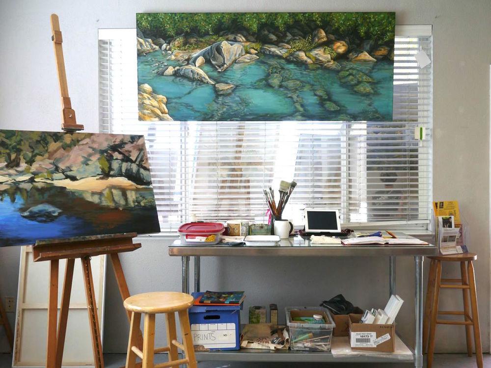 Denise Wey landscape paintings, yuba river, nature art, studio shot, california rivers.jpg
