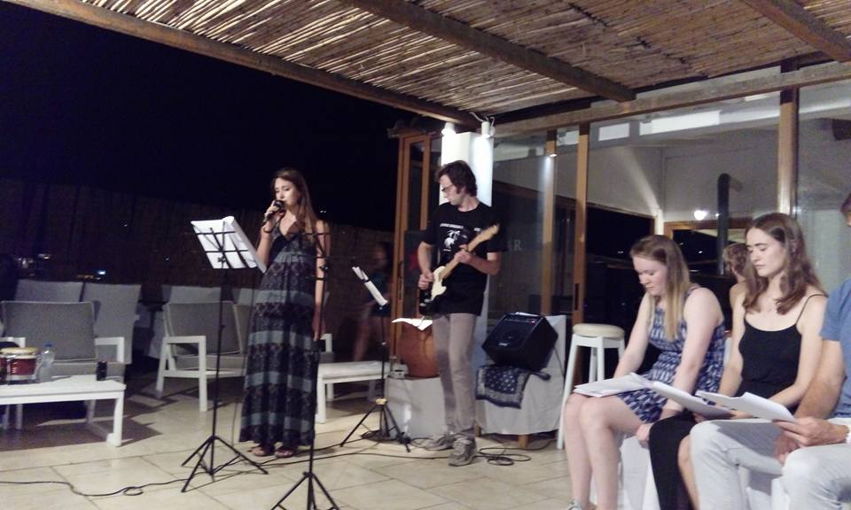 """Helen and Her Double"" presentation at Hotel Kanelli Beach in Selianitikia, Greece."