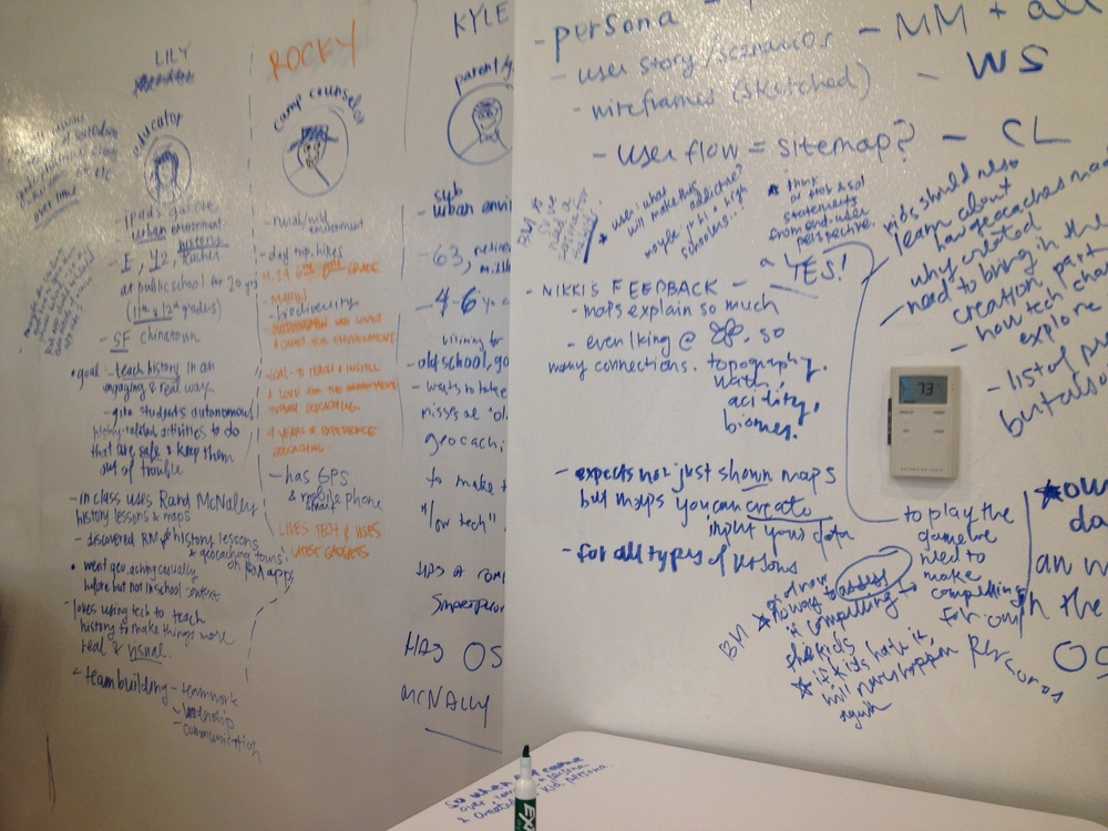 The whiteboard and I are good friends when it comes to synthesizing research into personas.