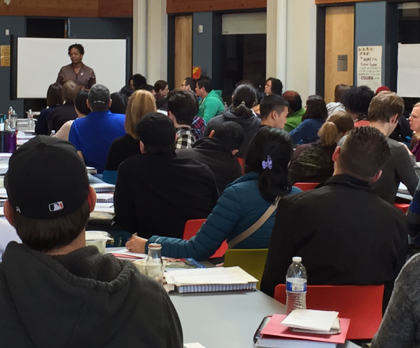 A packed workshop session of prospective below-market-rate or affordable home buyers.