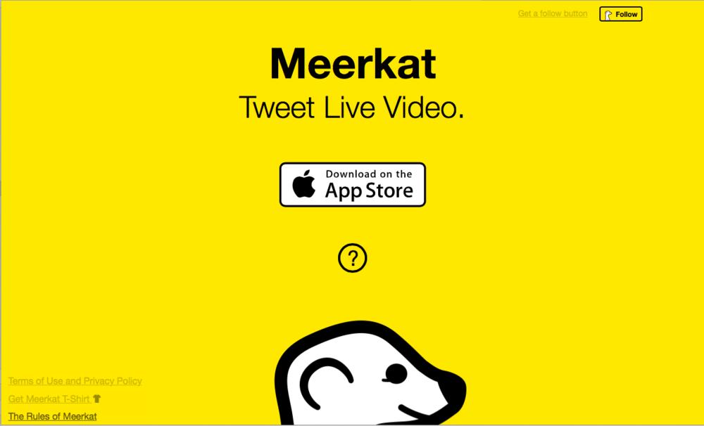 Meerkat's homepage, 4.24.2015