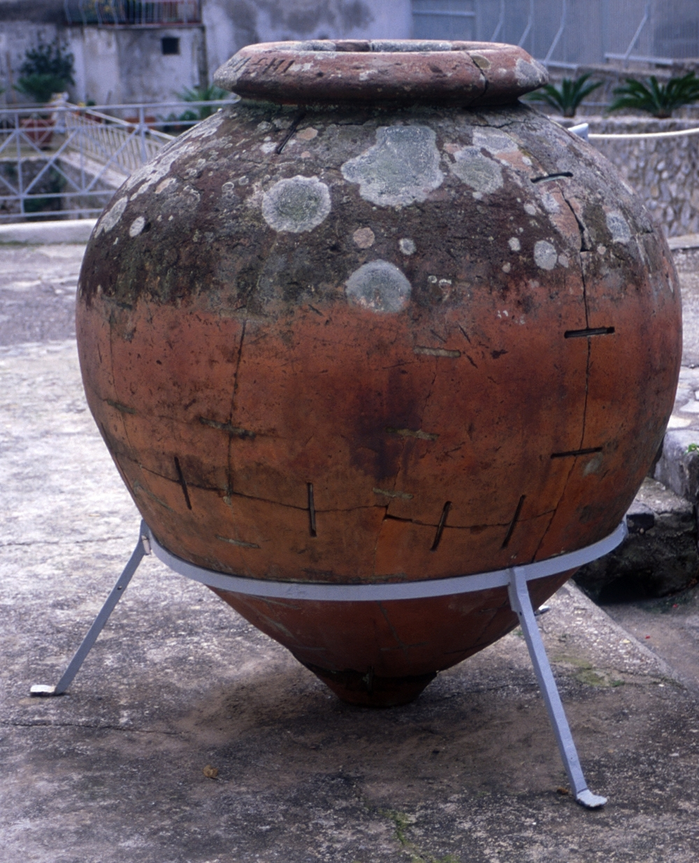 Example of a  dolium  with massive repairs carried out in antiquity - here, you can see the large metal staples that attach the broken pieces of this massive vessel. This example is from the Villa Minori in Italy.  Photo credit Tyler Bell via WikiMedia Commons.
