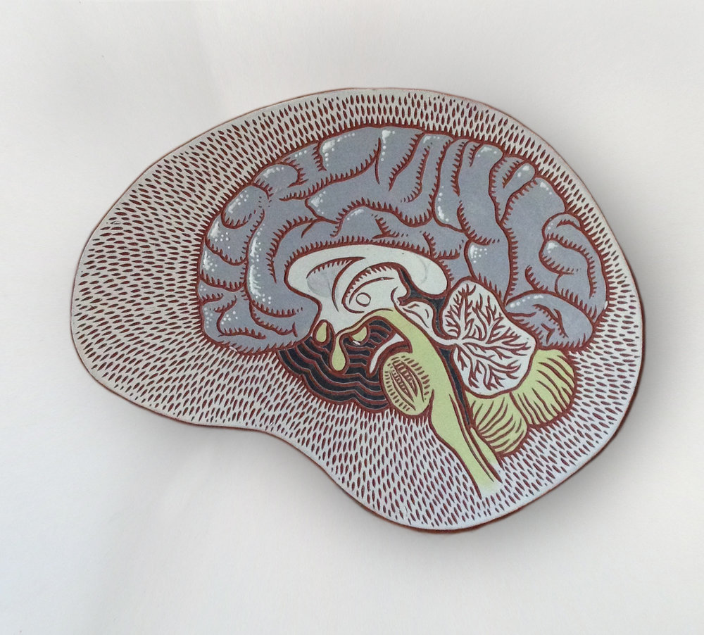 Carved brain platter