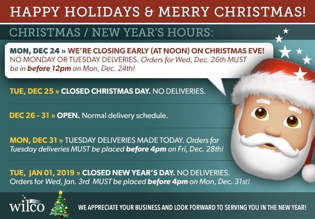 CLOSING AT NOON ON CHRISTMAS EVE,  MERRY CHRISTMAS, HAPPY NEW YEAR!