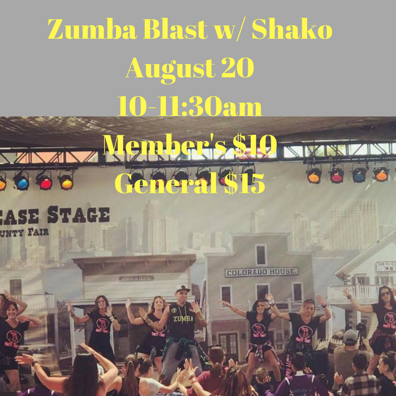 Zumba Blast w_ ShakoAugust 2710-11_30amParty Fitness 4659 Mission Gorge Place Suite BSan Diego, Ca 92120Member's $10General $15.png