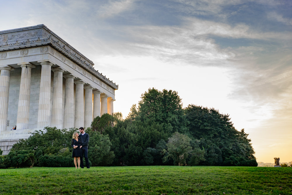 Washington DC Monuments - Fall Engagement Photos by Lincoln Memorial