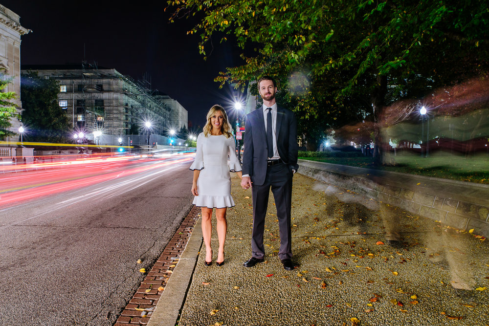Engagement photos at night Washington DC