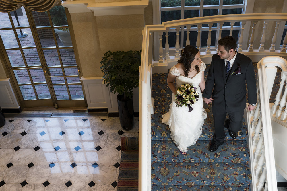 Bride and groom at The Fairfax Embassy Suites DC - Wedding photos