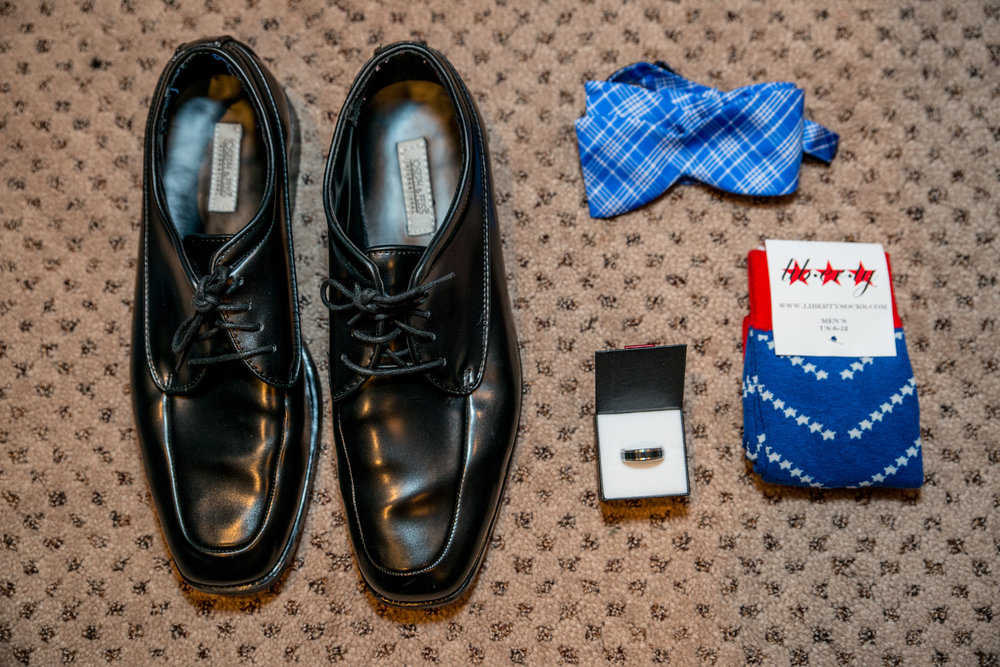 Groom's Shoes, tie, socks and watch at a Virginia Wedding