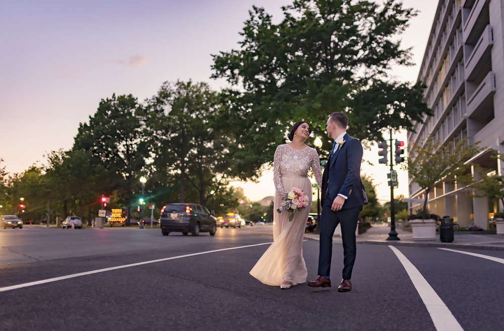Washington DC Urban Wedding Photo at night