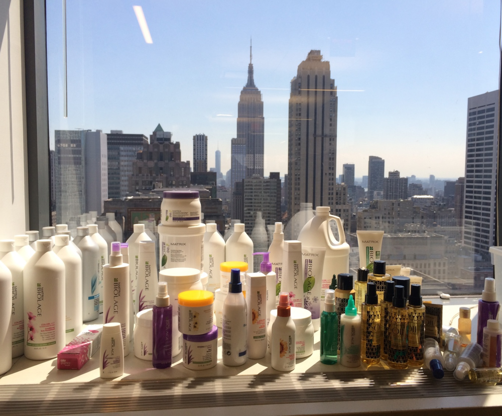 The view from my desk at L'Oreal HQ: A display of all of the different packaging formats I managed for the Biologe Reinvention as well as others my team launched around the same time (including Matrix Oil Wonders on the right)