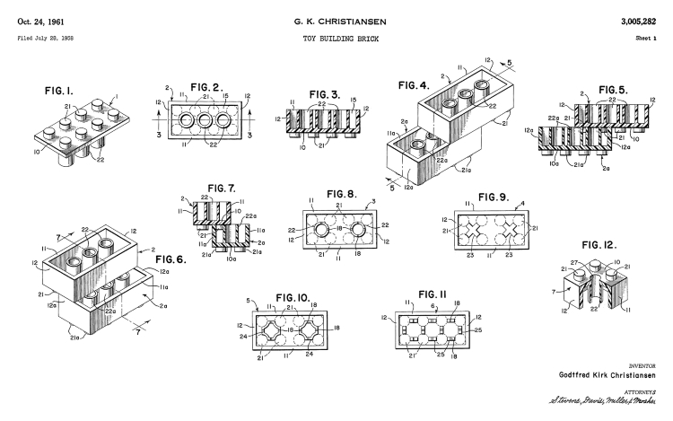 A patent drawing for the well known children's building blocks toy, Legos. Numbered 'call-outs' are referenced in the patent's text description.