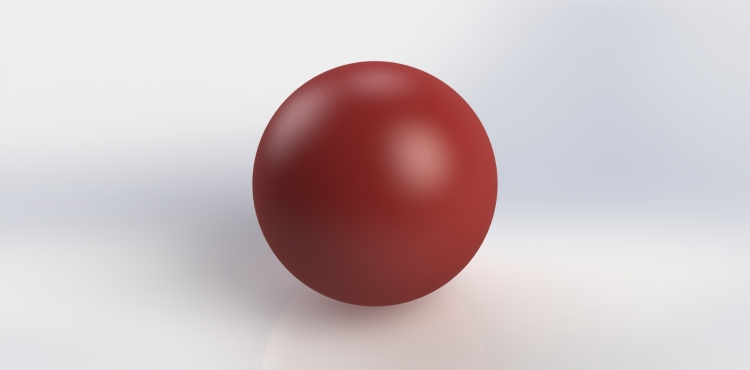 Solid rubber ball as 3D modeled by CAD designer, before being sliced into layers.