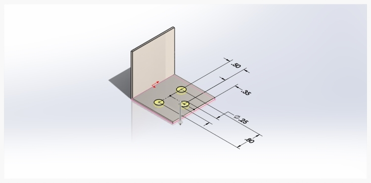 Another 2 dimensional sketch is created to add a pattern of screw holes to the part.