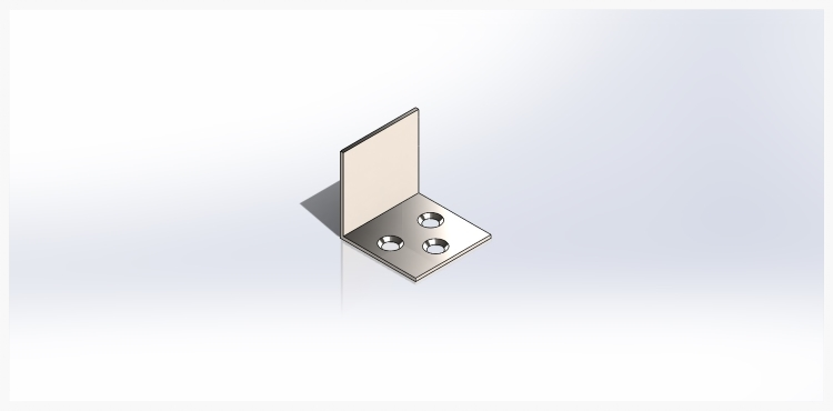 """Angled features called chamfers (pronounced like champ without the letter """"p"""") are added to match the angles of the screw head that will go into the bracket's holes."""