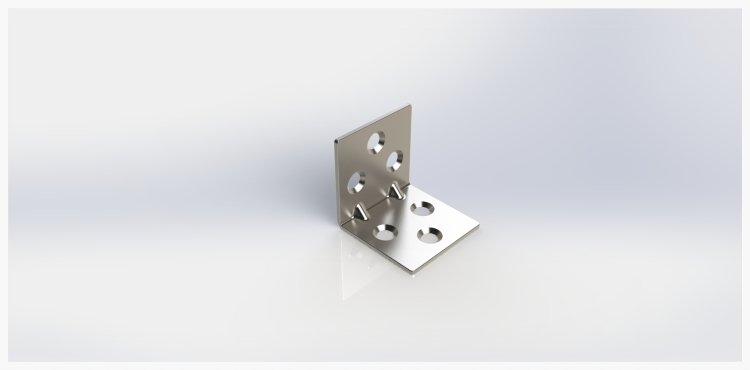 A photo-realistic rendering of the finished corner bracket CAD model.