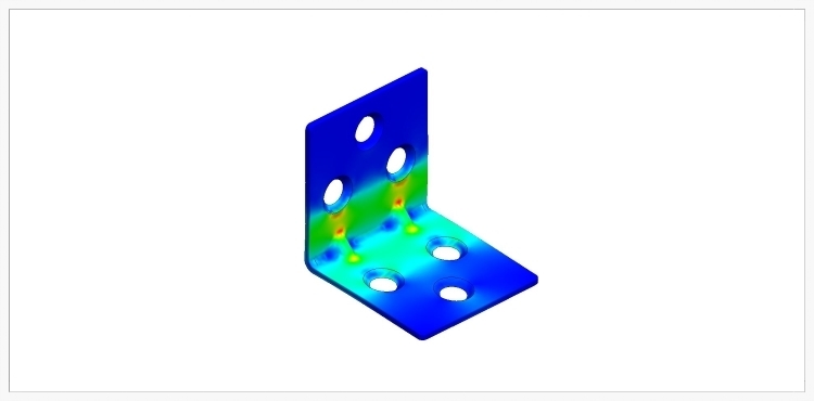 A Finite Element Analysis of the structural integrity of the corner bracket. Red areas show high stress on the part and blue areas show little to no stress.