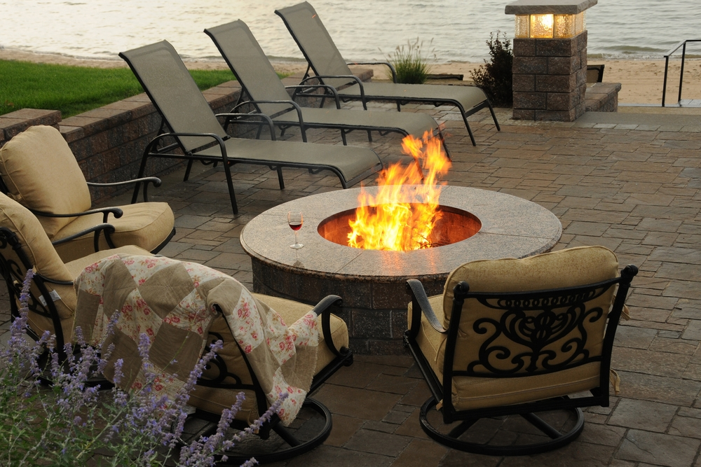 Granite Fire Pit and Seating Area Overlooking Lake Huron