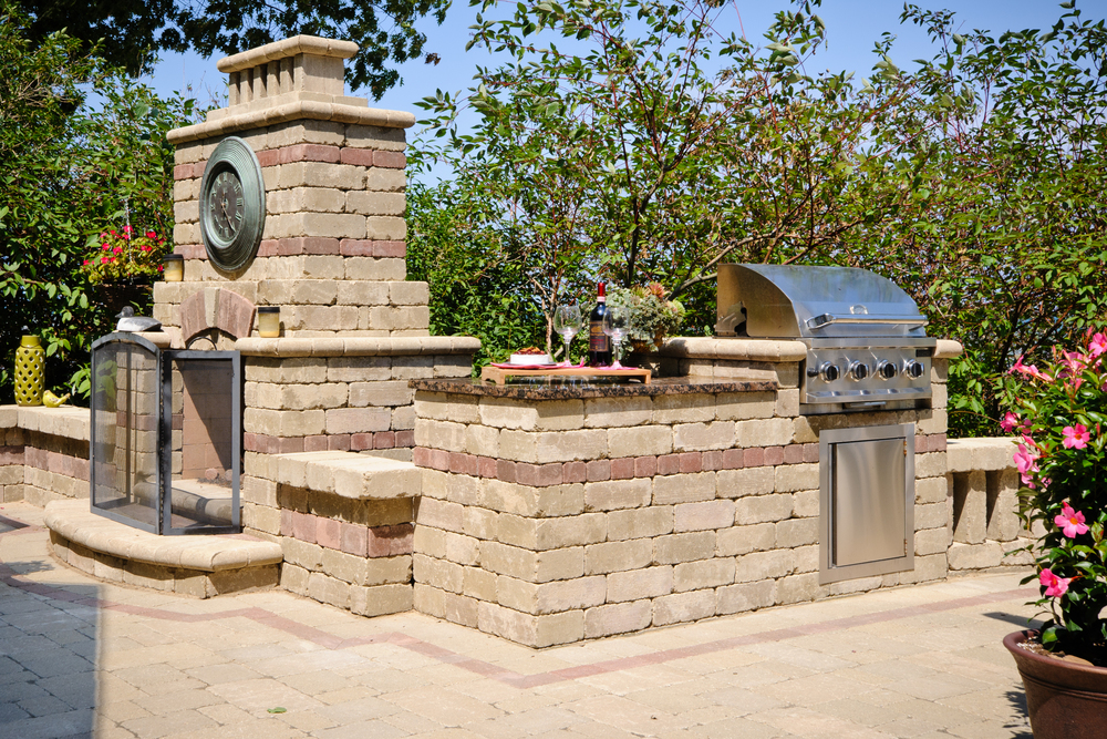 Outdoor BBQ and Paver Fireplace