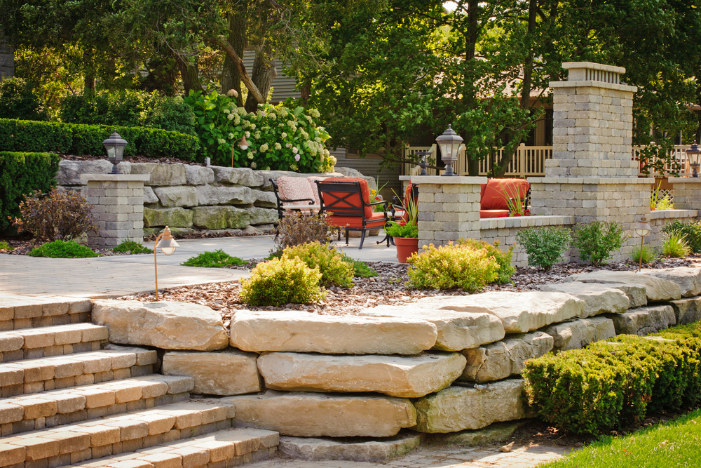 Retaining Wall with Brick Paver Stairs and Outdoor Living Area