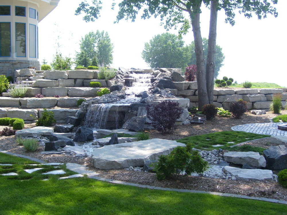 Tiered Natural Waterfall with Retaining Wall