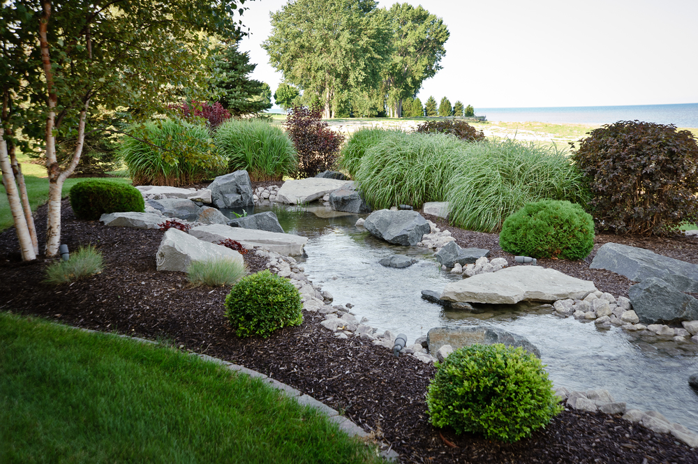 Stream with Landscaping Overlooking Lake Huron