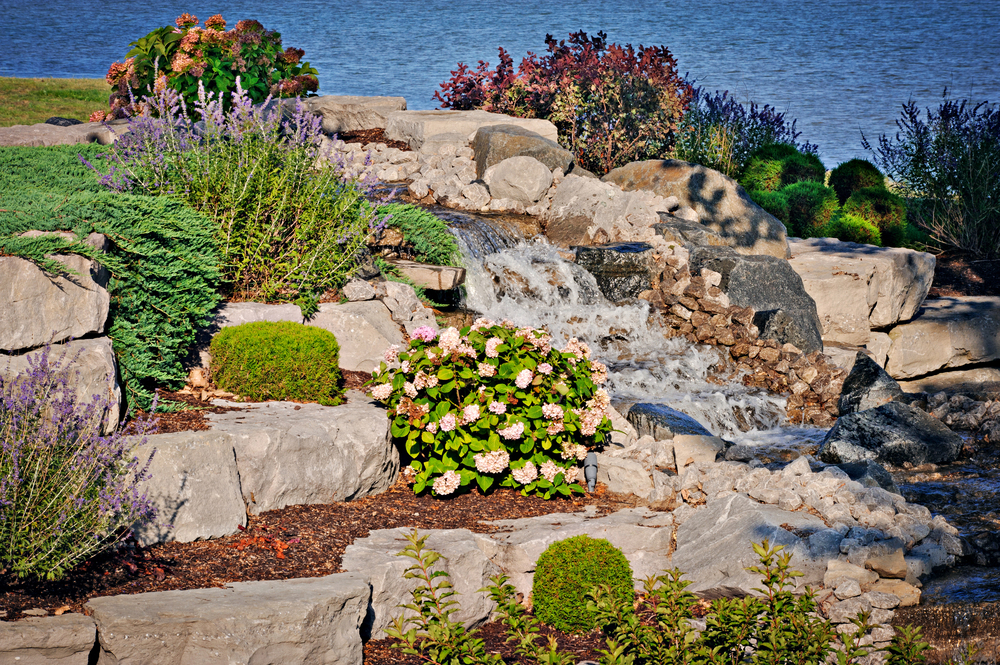Boulder Retaining wall with Cascading Waterfall