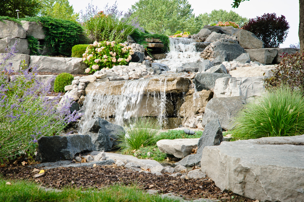 Tiered Rock Waterfall with Plant Placement