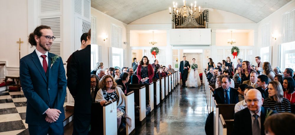 St Michaels of Ligonier bride walking down aisle, Mariah Fisher Photography.jpg